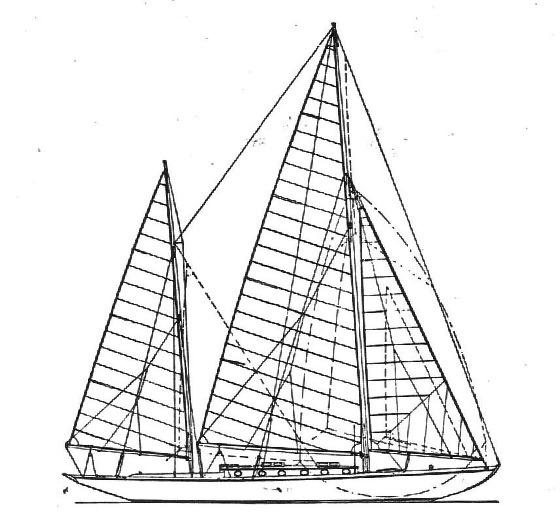 80 qm Seefahrtskreuzer Segelplan
